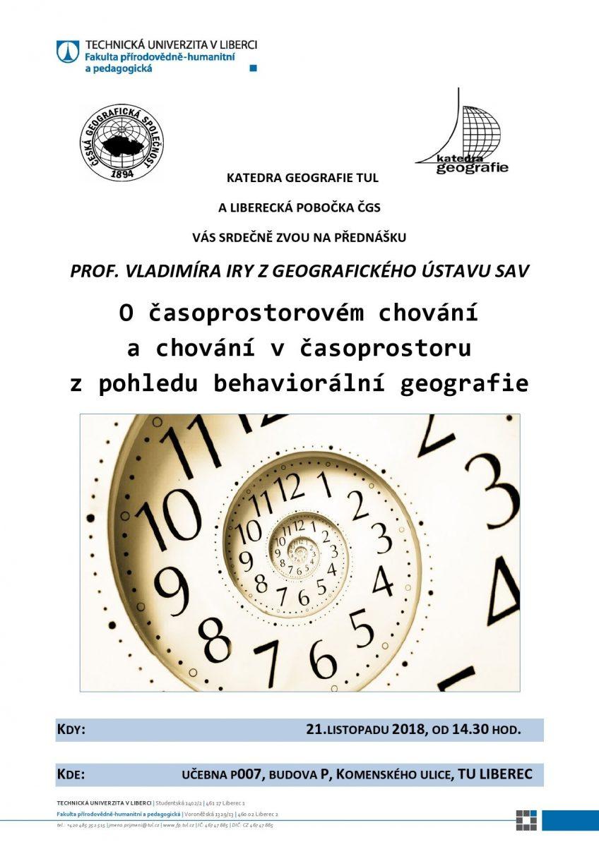 Přednáška O časoprostorovém chování a chování v časoprostoru z pohledu behaviorální geografie