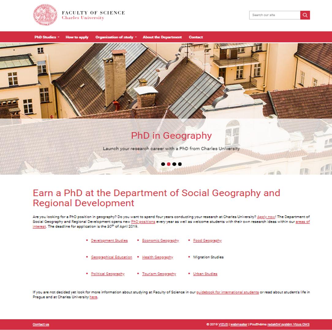 Nový web s nabídkou doktorského studia na UK