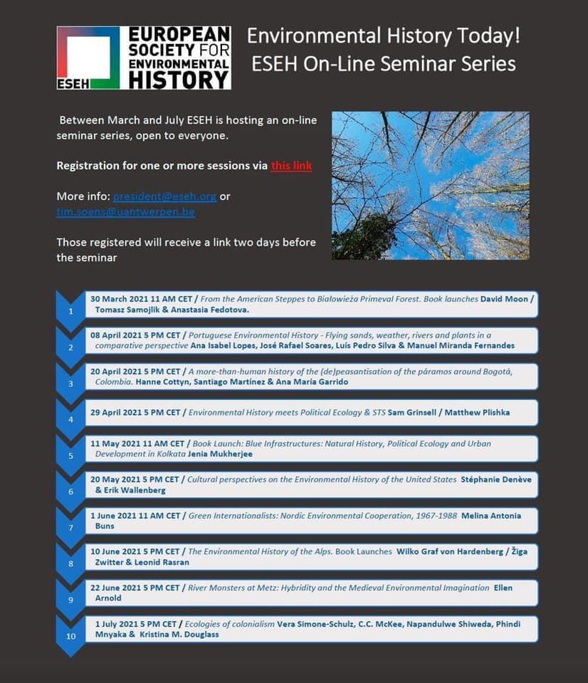 Série ESEH online přednášek ENVIRONMENTAL HISTORY TODAY
