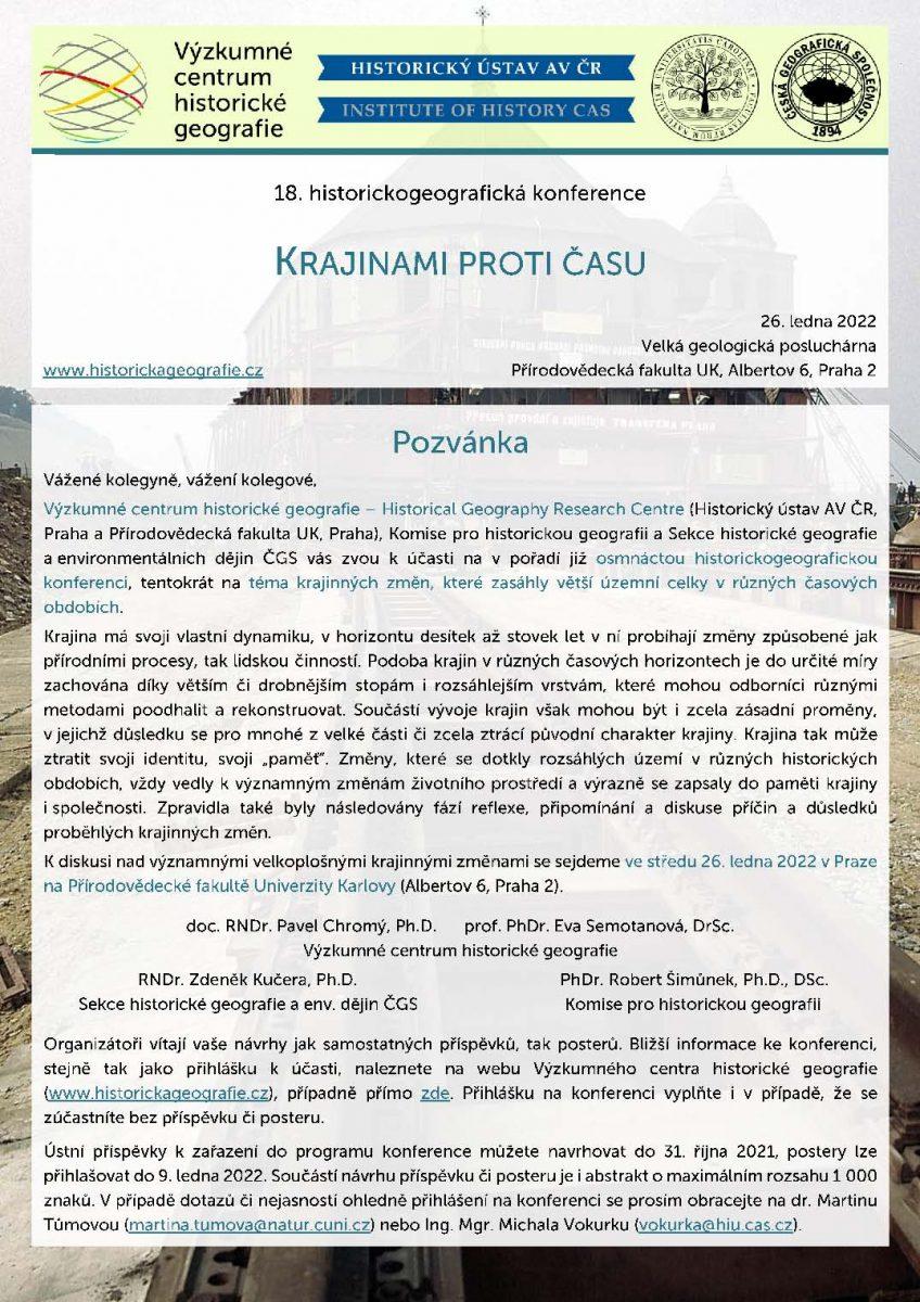 """Pozvánka na historickogeografickou konferenci """"Krajinami proti času"""""""